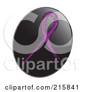 Royalty Free RF Clipart Illustration Of A Purple Awareness Ribbon On A Shiny Black App Icon Button