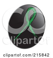 Royalty Free RF Clipart Illustration Of A Green Awareness Ribbon On A Shiny Black App Icon Button