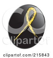 Royalty Free RF Clipart Illustration Of A Yellow Awareness Ribbon On A Shiny Black App Icon Button