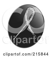Royalty Free RF Clipart Illustration Of A Gray Awareness Ribbon On A Shiny Black App Icon Button