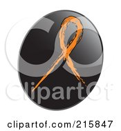 Royalty Free RF Clipart Illustration Of An Orange Awareness Ribbon On A Shiny Black App Icon Button