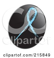 Royalty Free RF Clipart Illustration Of A Light Blue Awareness Ribbon On A Shiny Black App Icon Button