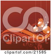 Red-Orange Background With Three Christmas Ornaments Hanging Over Vines And Scrolls