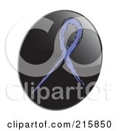 Royalty Free RF Clipart Illustration Of A Violet Awareness Ribbon On A Shiny Black App Icon Button