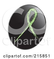 Royalty Free RF Clipart Illustration Of A Light Green Awareness Ribbon On A Shiny Black App Icon Button