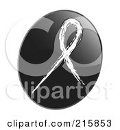Royalty Free RF Clipart Illustration Of A White Awareness Ribbon On A Shiny Black App Icon Button