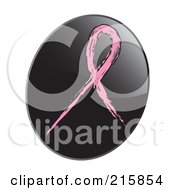 Royalty Free RF Clipart Illustration Of A Pink Awareness Ribbon On A Shiny Black App Icon Button by inkgraphics