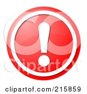 Royalty Free RF Clipart Illustration Of A Round Red And White Shiny Exclamation Point Button Icon