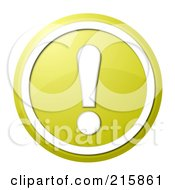 Royalty Free RF Clipart Illustration Of A Round Yellow And White Shiny Exclamation Point Button Icon