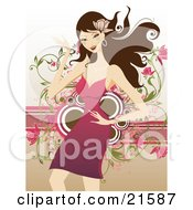 Clipart Illustration Of A Happy Brunette Caucasian Woman Wearing A Flower In Her Hair Wearing A Pink Dress And Dancing
