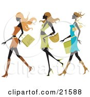 Clipart Illustration Of Three Silhouetted Long Haired Women Wearing Colorful And Fashionable Clothes And Taking Long Strides While Shopping In A Mall