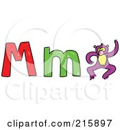Royalty Free RF Clipart Illustration Of A Childs Sketch Of A Capital And Lowercase Letter M With A Monkey