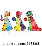 Royalty Free RF Clipart Illustration Of A Childs Sketch Of Three Magi Kids by Prawny
