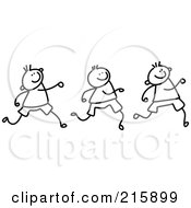 Royalty Free RF Clipart Illustration Of A Childs Sketch Of Black And White Boys Marching