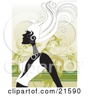 Clipart Illustration Of A Woman With Long Hair In Profile Wearing A Low Cut Shirt Her Hair Blowing In A Breeze Against A Green Vine Scroll Background by OnFocusMedia
