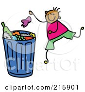 Royalty Free RF Clipart Illustration Of A Childs Sketch Of A Boy Putting Garbage In A Bin