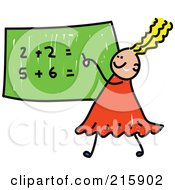 Childs Sketch Of A Girl Doing Math On A Chalk Board