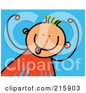 Royalty Free RF Clipart Illustration Of A Childs Sketch Of A Goofy Boy