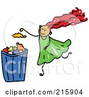 Royalty Free RF Clipart Illustration Of A Childs Sketch Of A Girl Putting Garbage In A Can