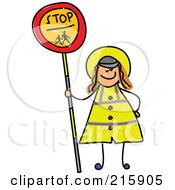 Childs Sketch Of A Woman Holding A Stop Sign