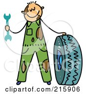 Royalty Free RF Clipart Illustration Of A Childs Sketch Of A Dirty Mechanic Boy With A Tire