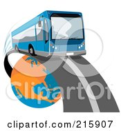 Royalty Free RF Clipart Illustration Of A Modern Blue Public Bus Driving Around A Globe 2