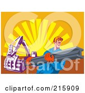 Royalty Free RF Clipart Illustration Of A Construction Worker Carrying A Beam Near A Machine by patrimonio