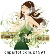 Clipart Illustration Of A Pretty Brunette Caucasian Woman In A Green Dress Closing Her Eyes And Dancing While Listening To Tunes Through Headphones