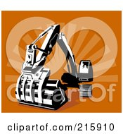 Royalty Free RF Clipart Illustration Of A Retro Digger Machine by patrimonio