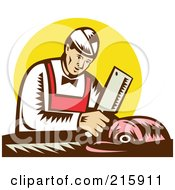 Royalty Free RF Clipart Illustration Of A Retro Butcher Chopping Meat