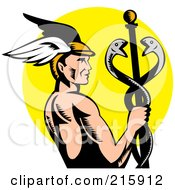 Royalty Free RF Clipart Illustration Of Hermes Holding A Caduceus Over A Yellow Oval by patrimonio