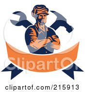 Royalty Free Vector RF Clipart Illustration Of A Retro Carpenter Over A Crossed Hammer Wrench And Orange Banner