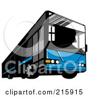 Royalty Free RF Clipart Illustration Of A Blue City Bus 3