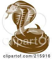 Royalty Free RF Clipart Illustration Of A Retro Woodcut Styled Cobra Snake by patrimonio