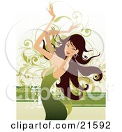Clipart Illustration Of A Stylish Brunette Caucasian Woman Wearing A Green Dress And Waving Her Arms In The Air While Dancing by OnFocusMedia