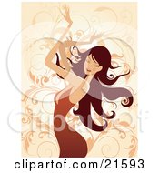 Clipart Illustration Of A Brunette Caucasian Woman Wearing An Orange Dress Closing Her Eyes And Waving Her Arms In The Air While Dancing