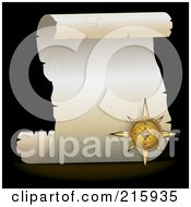 Royalty Free RF Clipart Illustration Of A Golden Compass Over A Blank Parchment Scroll