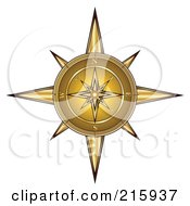Royalty Free RF Clipart Illustration Of An Ornate Golden Compass