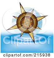 Royalty Free RF Clipart Illustration Of A Gold Compass Above Water