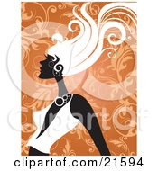 Clipart Illustration Of A Woman In Profile Wearing A Low Cut Shirt Her Hair Blowing In A Breeze Against An Orange Scroll Background by OnFocusMedia