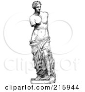 Royalty Free RF Clipart Illustration Of A Black And White Sketch Of Venus De Milo by BestVector