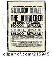 Royalty Free RF Clipart Illustration Of A Vintage Reward For Murderer Sign