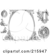 Royalty Free RF Clipart Illustration Of A Digital Collage Of Money Design Elements With A Blank Oval Frame by BestVector #COLLC215947-0144