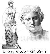 Royalty Free RF Clipart Illustration Of A Digital Collage Of Face And Full Body Aphrodite Statues