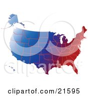 Gradient Red White And Blue Mape Of All Of The United States