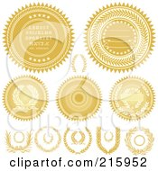 Royalty Free RF Clipart Illustration Of A Digital Collage Of Golden Seals And Wreaths by BestVector