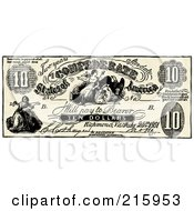 Royalty Free RF Clipart Illustration Of A Vintage Ten Dollar Confederate Bank Note