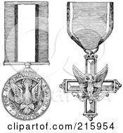 Royalty Free RF Clipart Illustration Of A Digital Collage Of Black And White Military Medals by BestVector