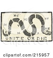 Royalty Free RF Clipart Illustration Of A Vintage Sepia Unite Or Die Flag With A Snake