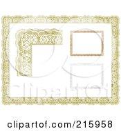 Digital Collage Of Orange Certificate Borders And Frames